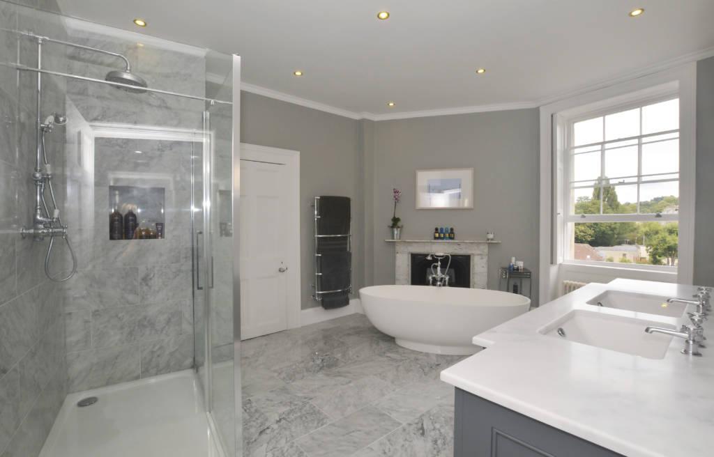 Stunning bathroom with egg bath in a period bath property