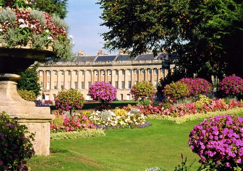 Looking at The Royal Crescent from Victoria Park, Bath