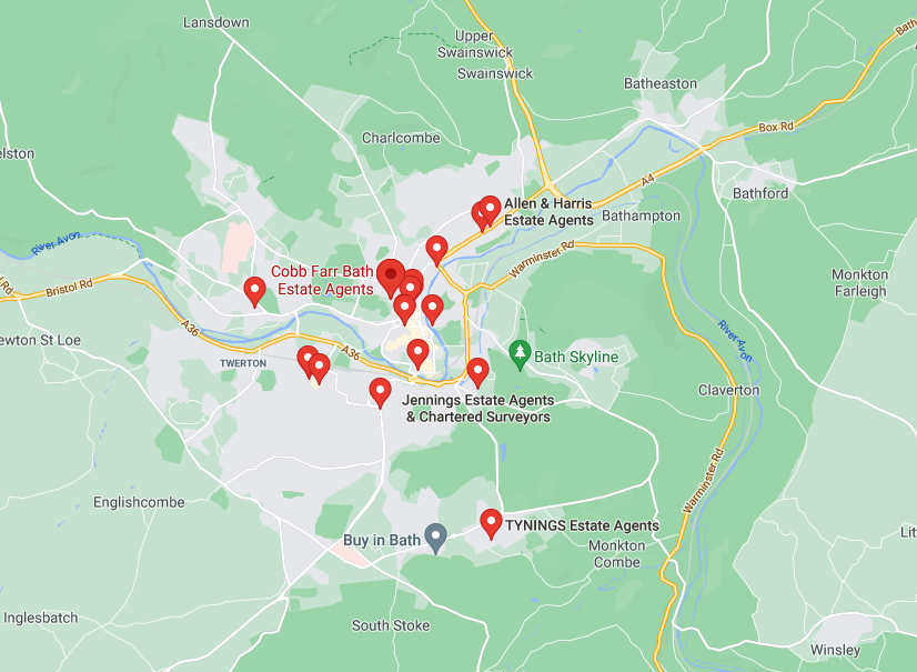 Map of estate agents in bath and north east somerset